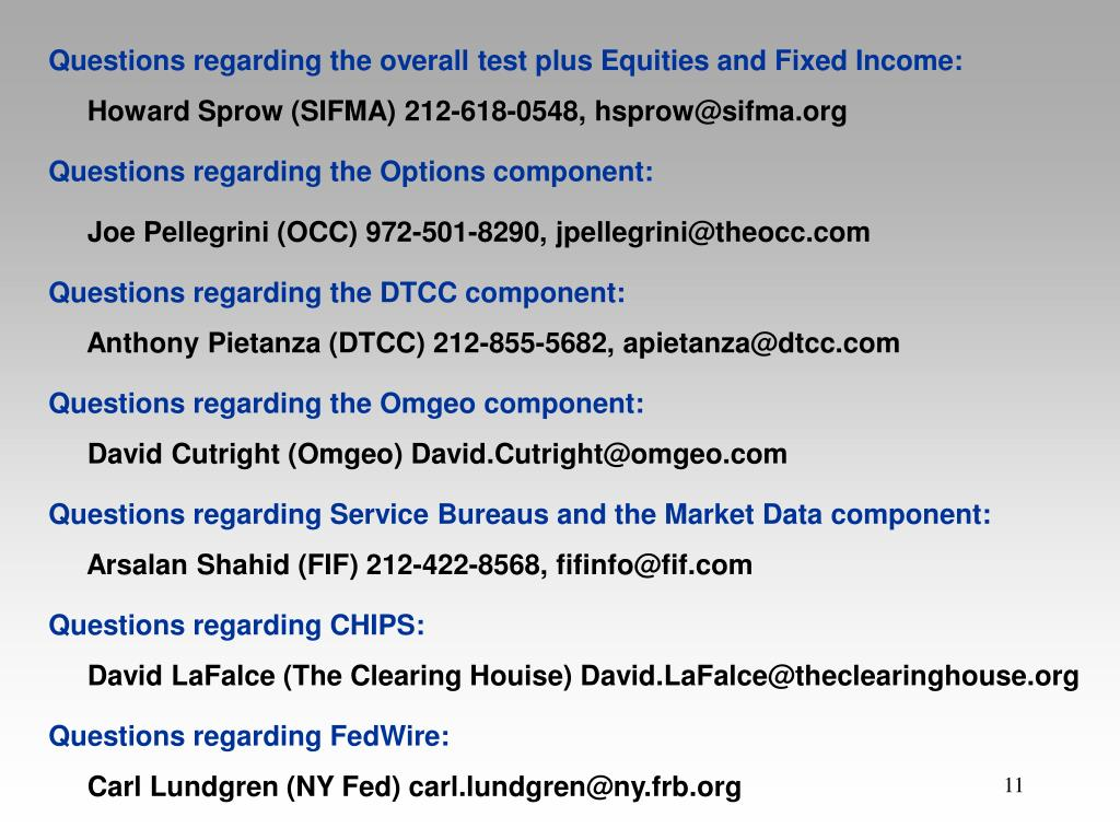 Questions regarding the overall test plus Equities and Fixed Income: