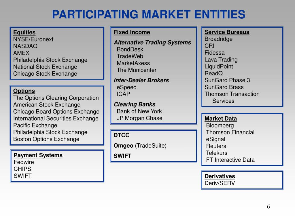 PARTICIPATING MARKET ENTITIES