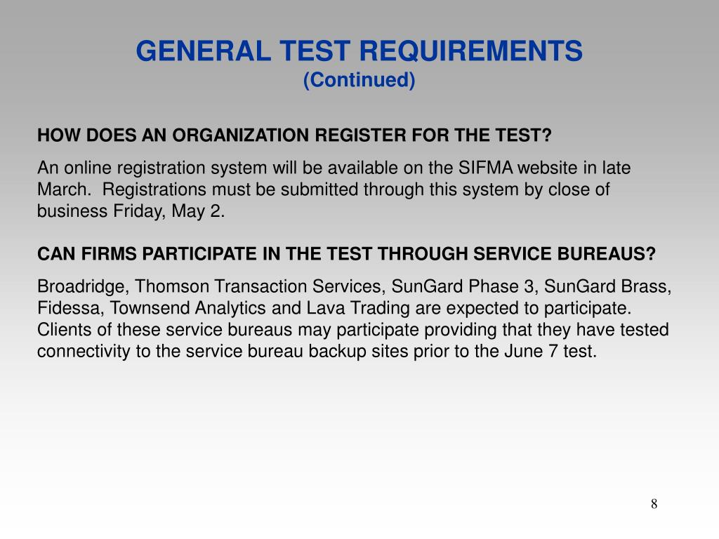 GENERAL TEST REQUIREMENTS