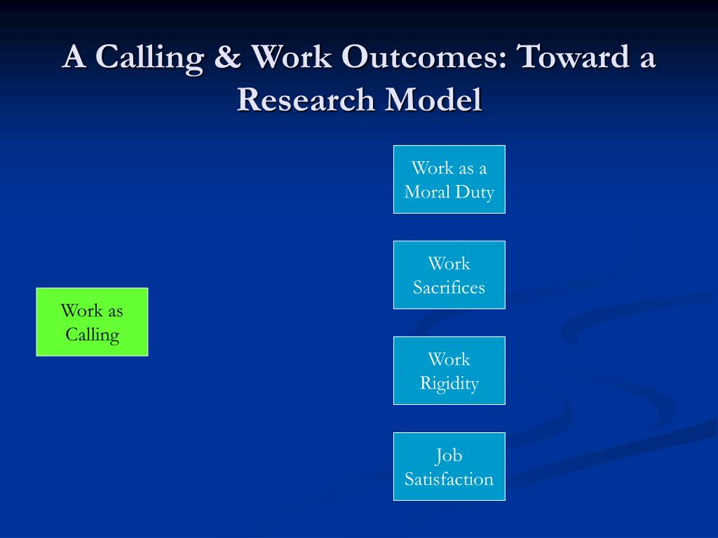 A Calling & Work Outcomes: Toward a Research Model