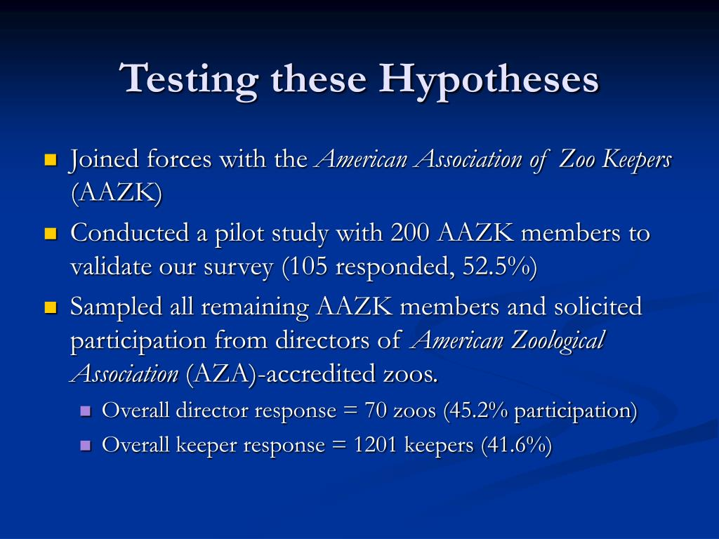 Testing these Hypotheses