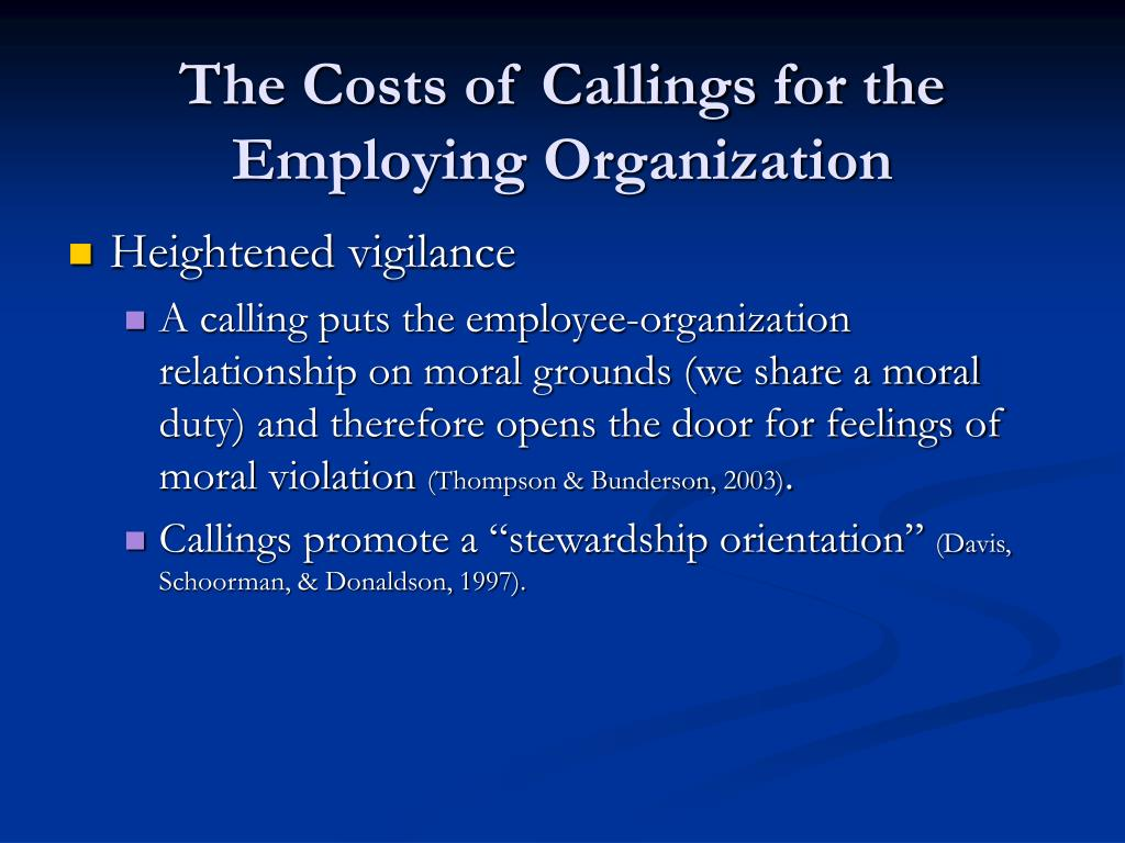 The Costs of Callings for the Employing Organization