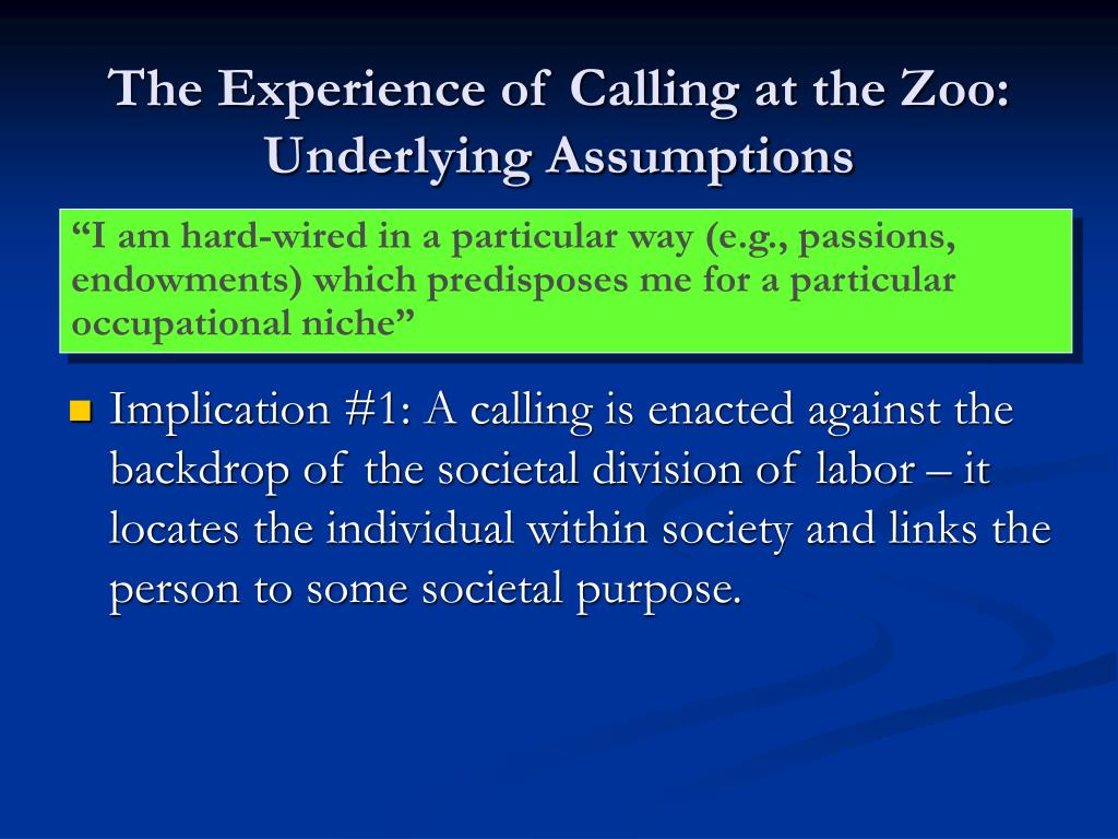The Experience of Calling at the Zoo: