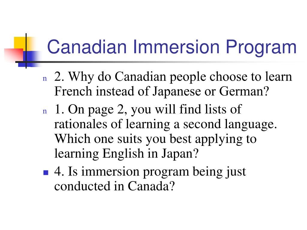 Canadian Immersion Program