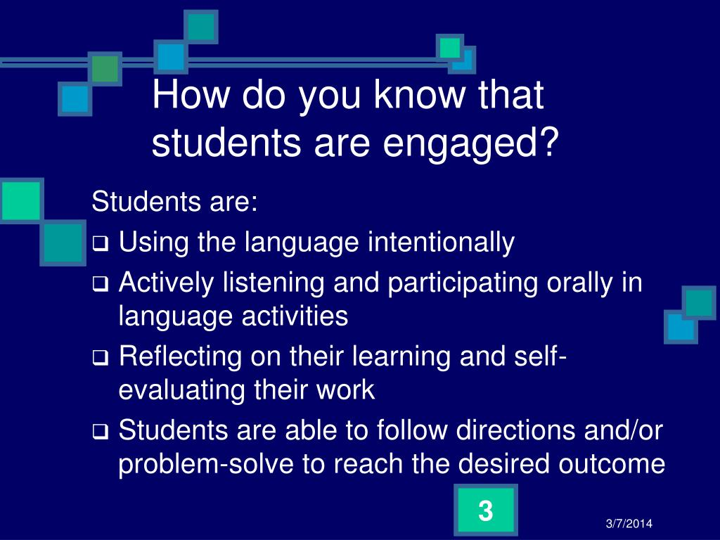 How do you know that students are engaged?