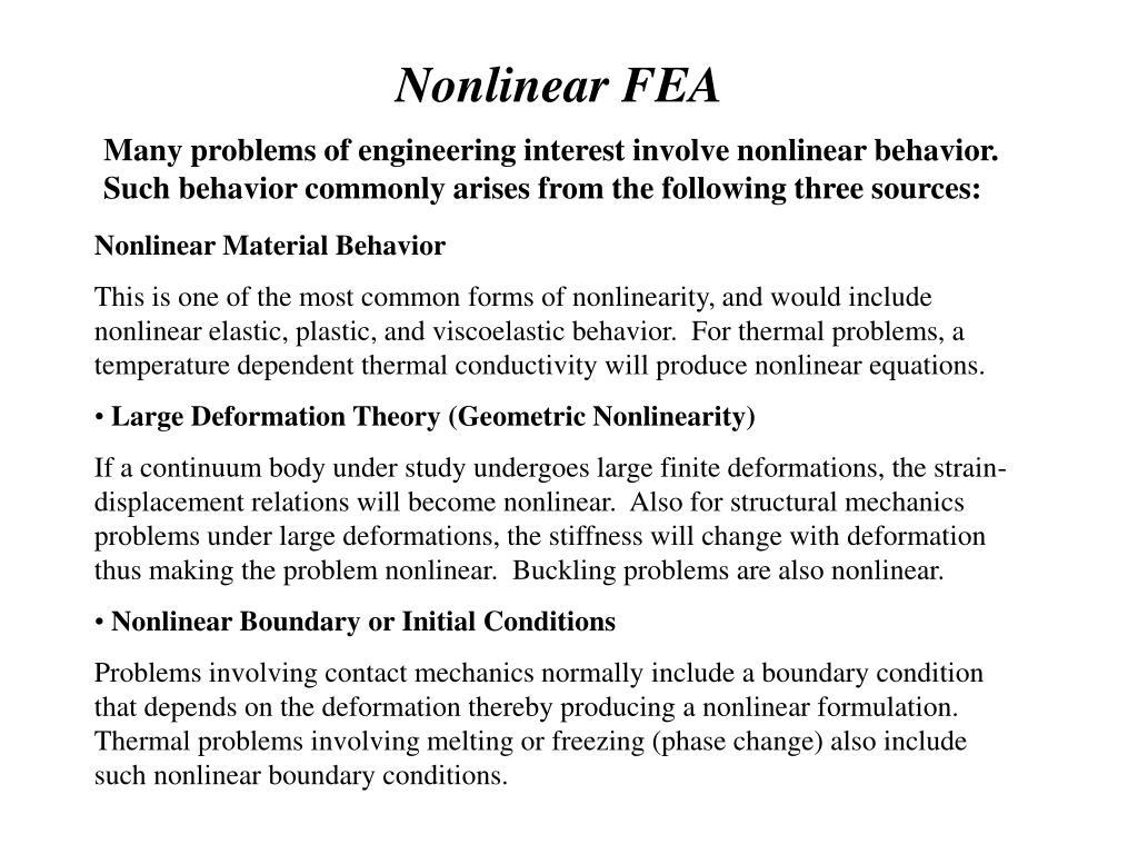 Nonlinear FEA