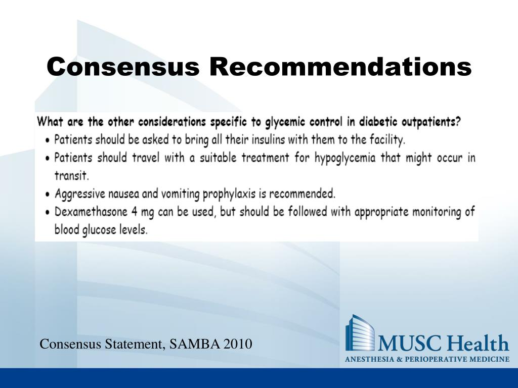 Consensus Recommendations