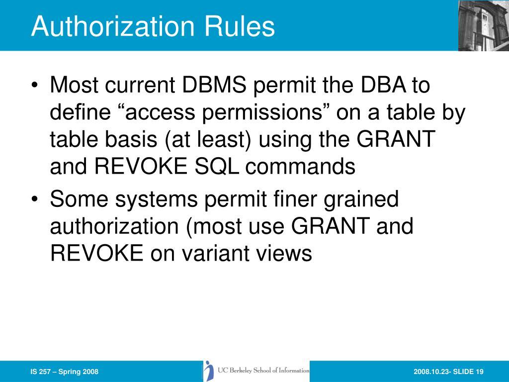 Authorization Rules