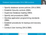 database implementation da dba functions