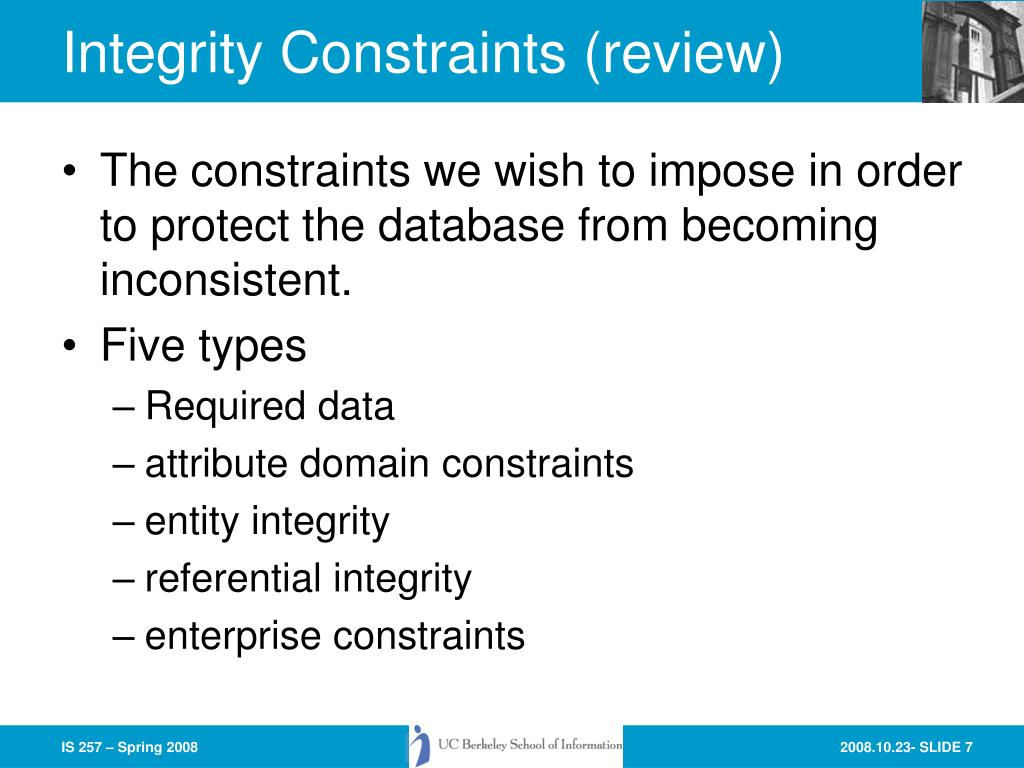 Integrity Constraints (review)