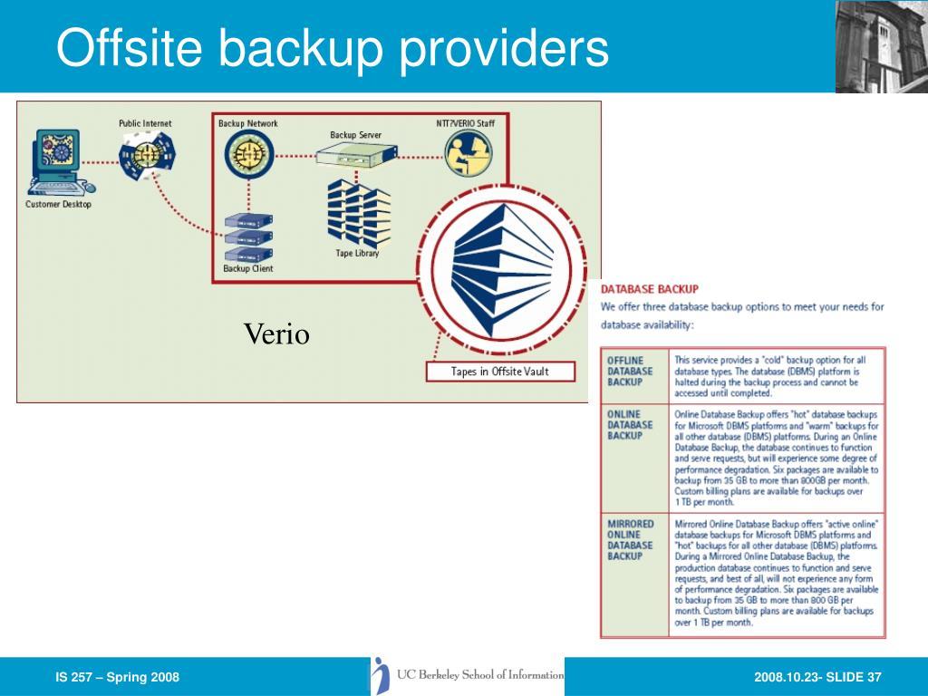 Offsite backup providers