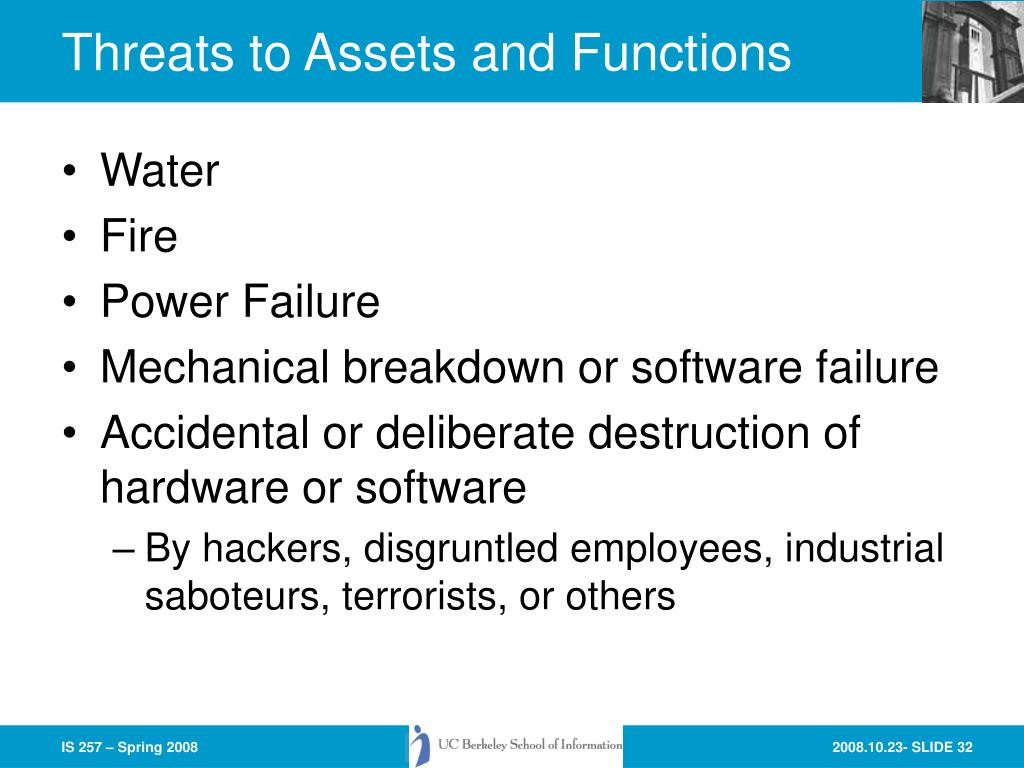 Threats to Assets and Functions