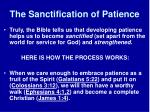 the sanctification of patience