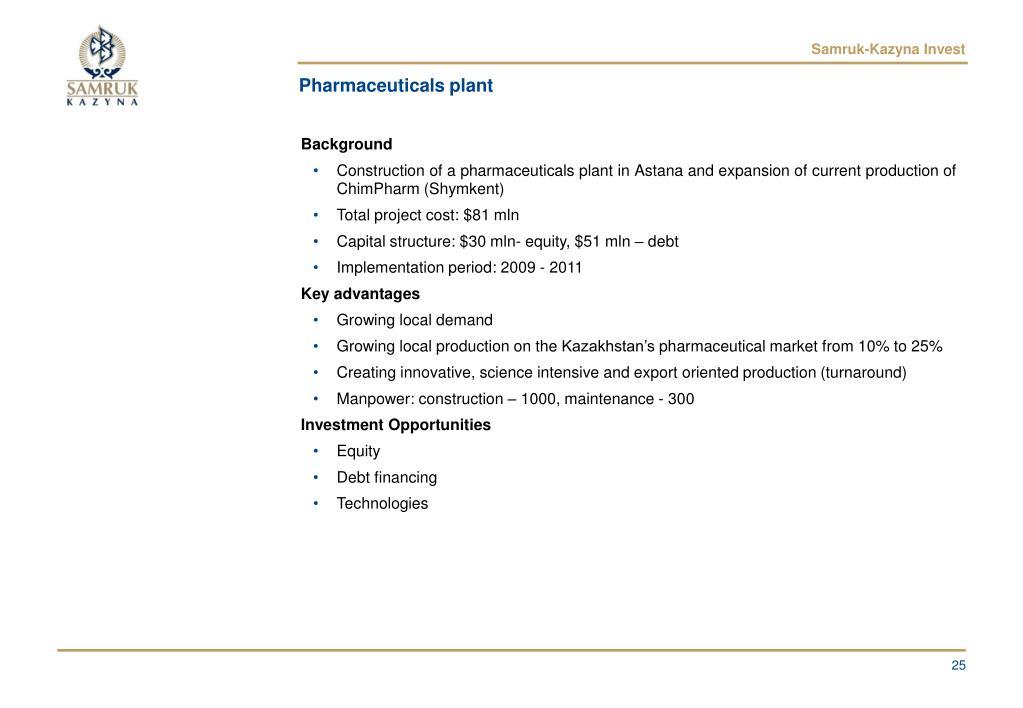 Pharmaceuticals plant