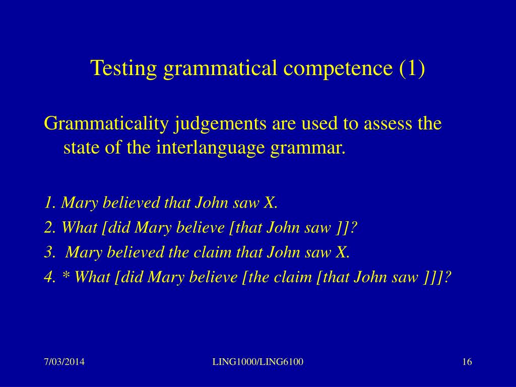 Testing grammatical competence (1)