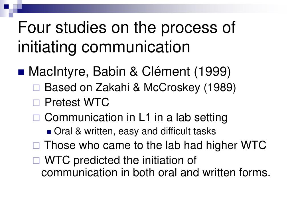 Four studies on the process of initiating communication