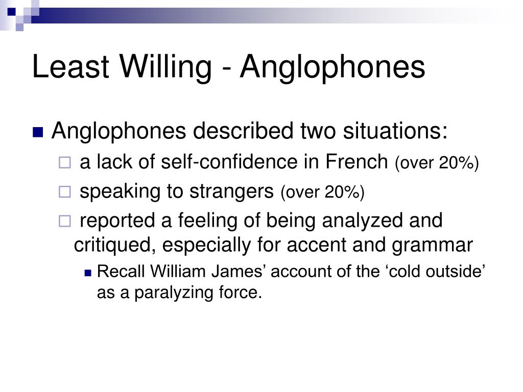 Least Willing - Anglophones