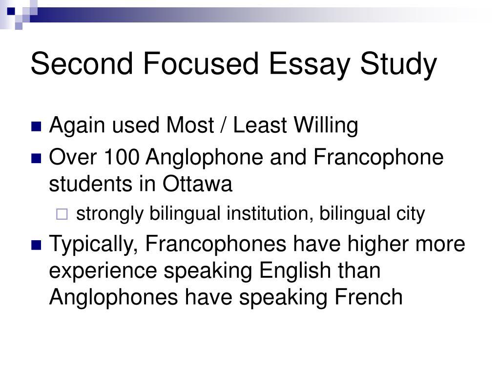Second Focused Essay Study