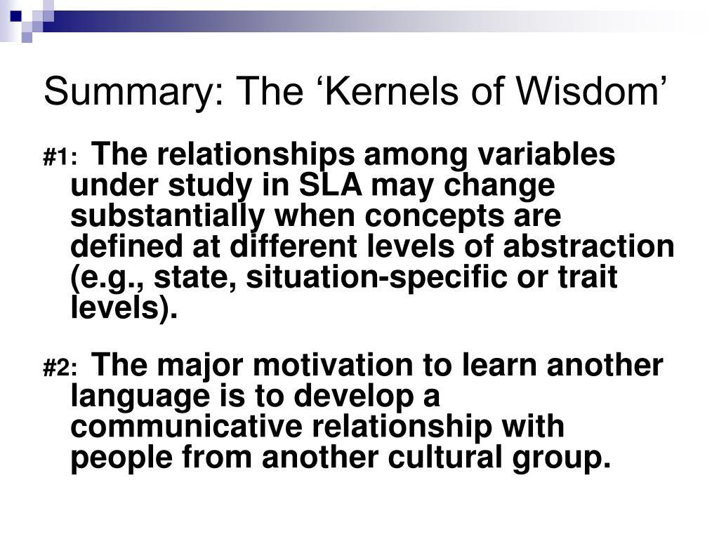 Summary: The 'Kernels of Wisdom'
