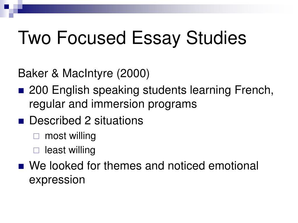 Two Focused Essay Studies