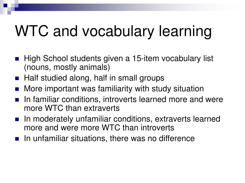 WTC and vocabulary learning