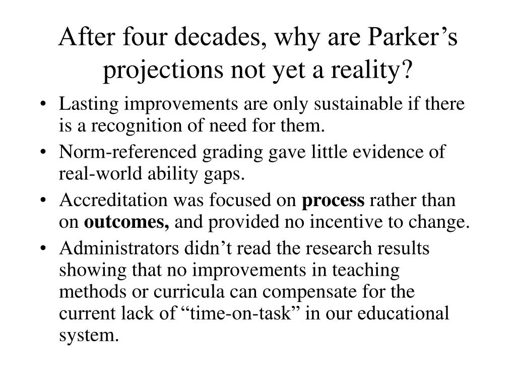 After four decades, why are Parker's projections not yet a reality?
