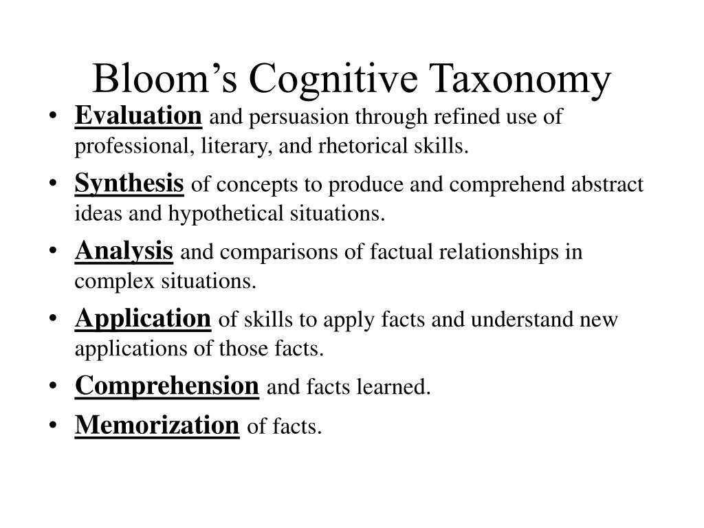 Bloom's Cognitive Taxonomy
