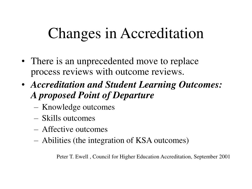 Changes in Accreditation
