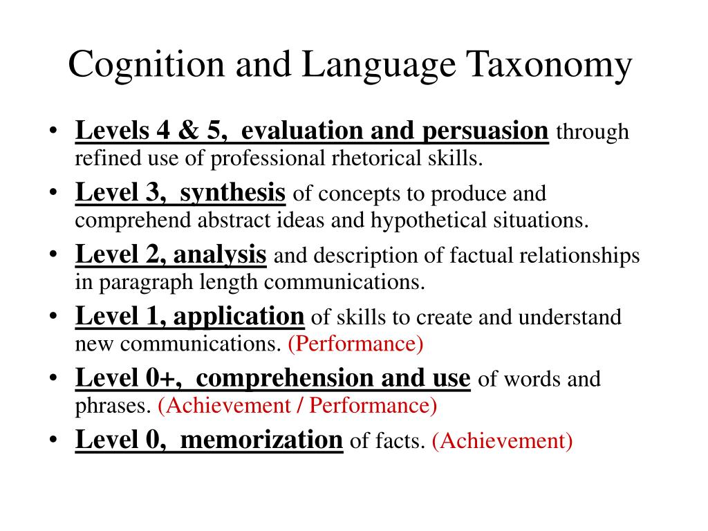Cognition and Language Taxonomy