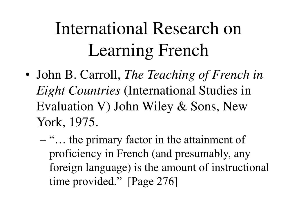 International Research on Learning French
