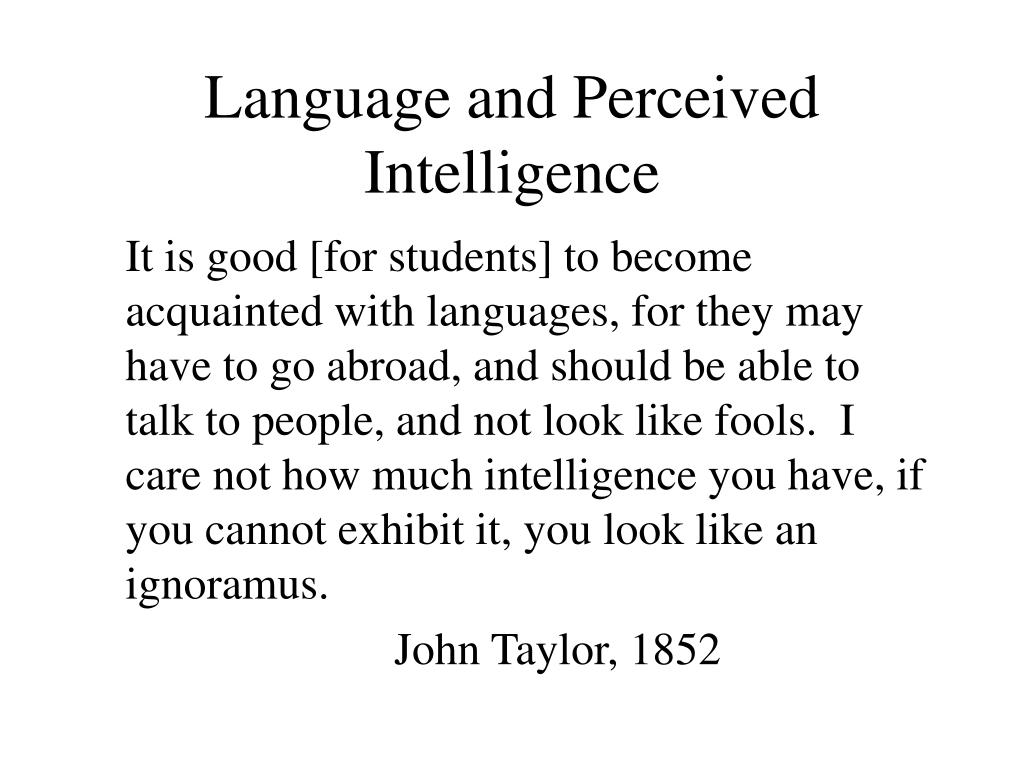 Language and Perceived Intelligence