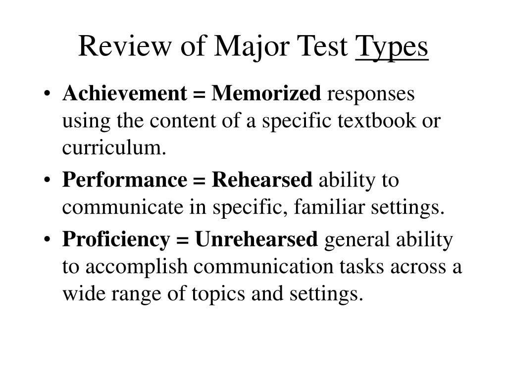 Review of Major Test