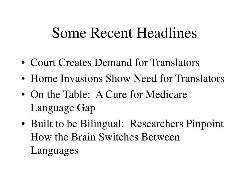 Some Recent Headlines
