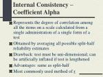 internal consistency coefficient alpha