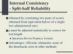 internal consistency split half reliability
