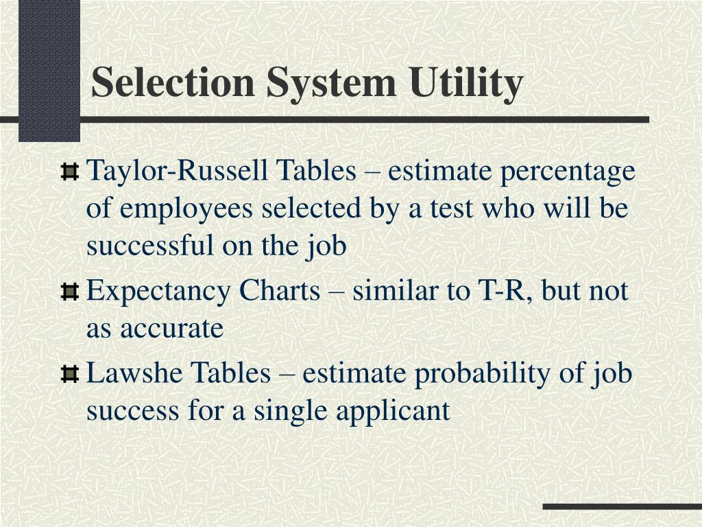 Selection System Utility