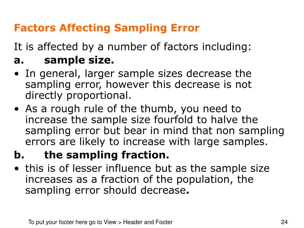 how to find sampling error