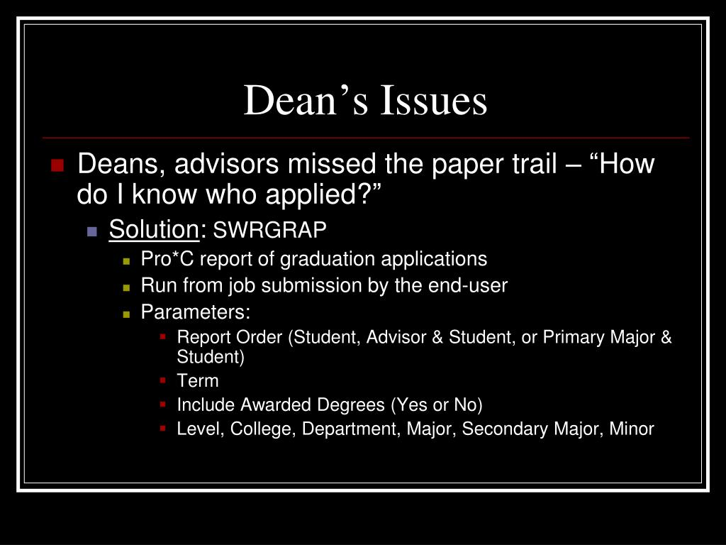Dean's Issues