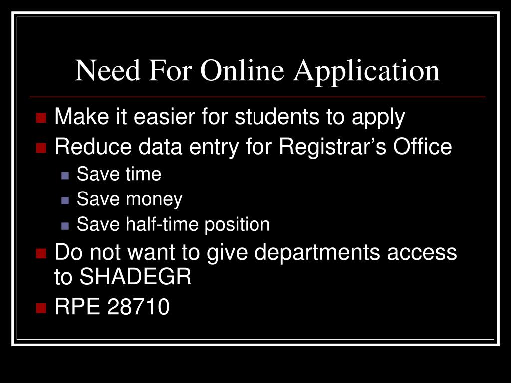 Need For Online Application