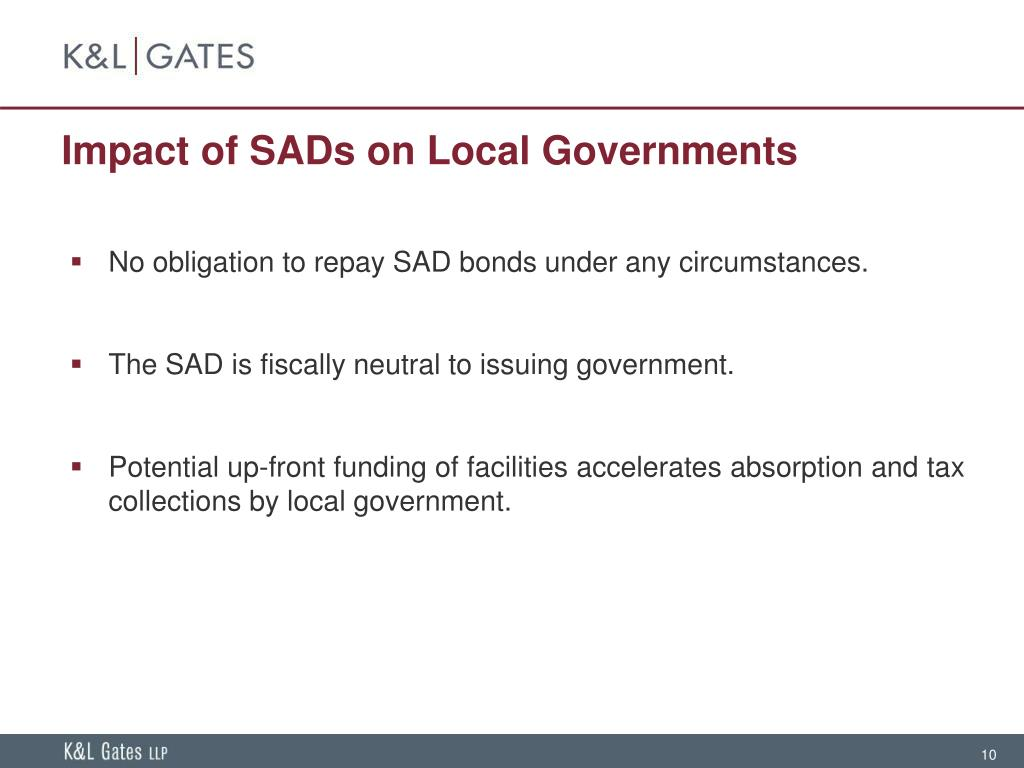 Impact of SADs on Local Governments