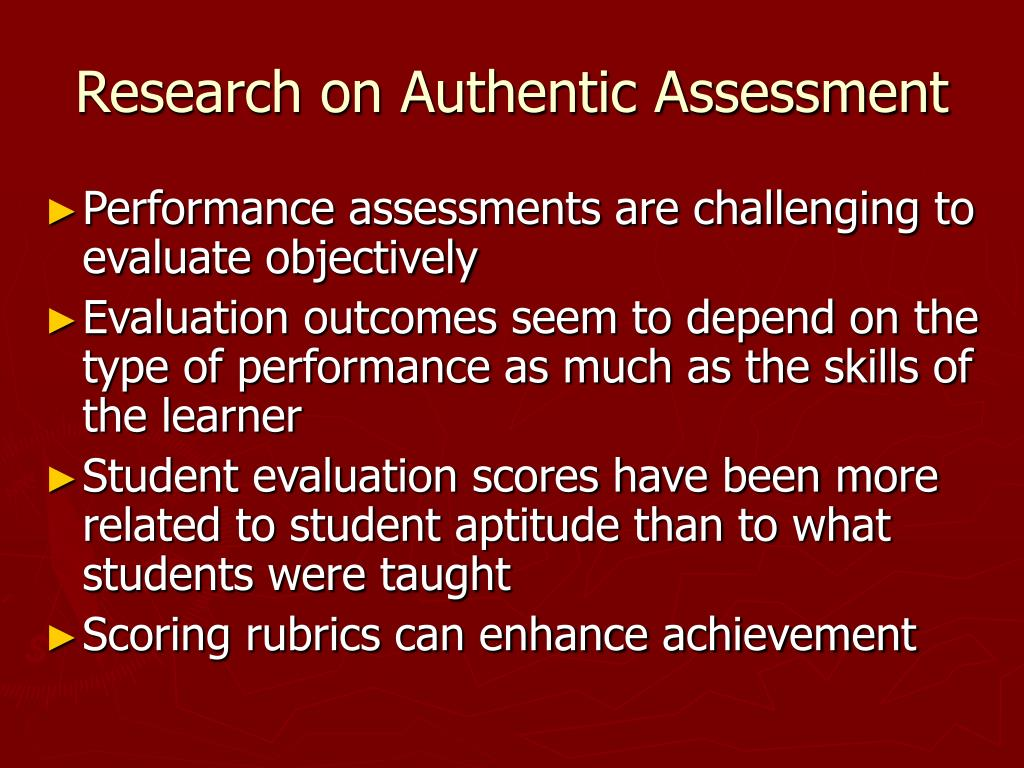 Authentic Assessment Research Paper Starter