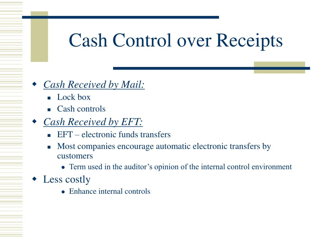 Cash Control over Receipts