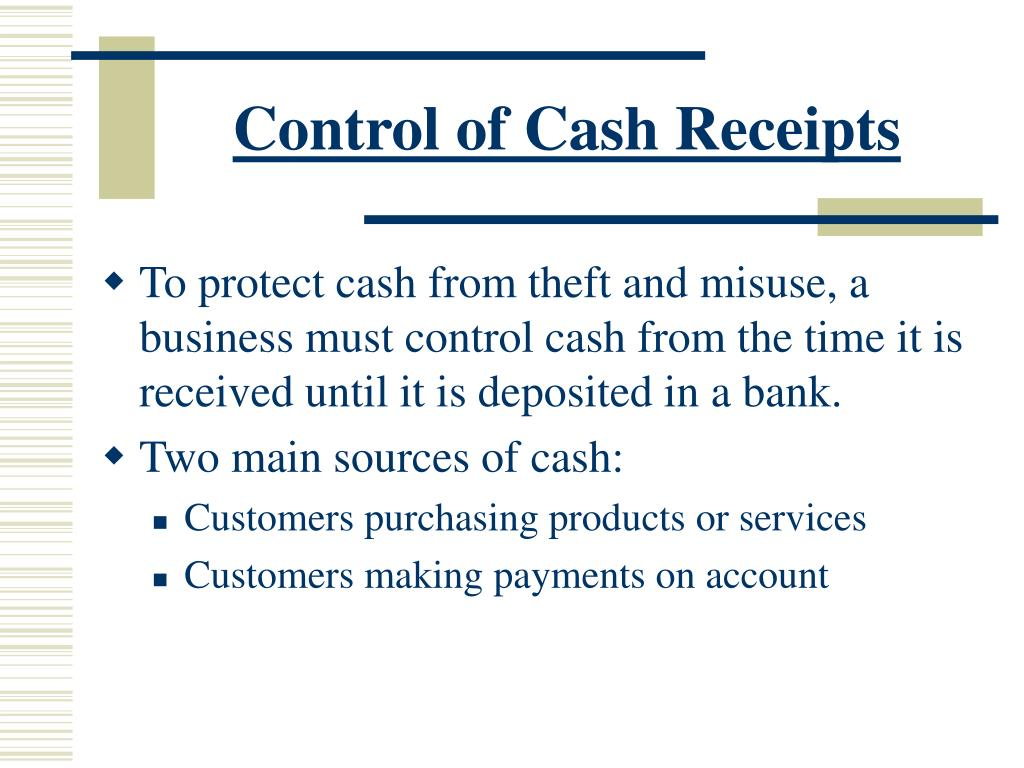 Control of Cash Receipts