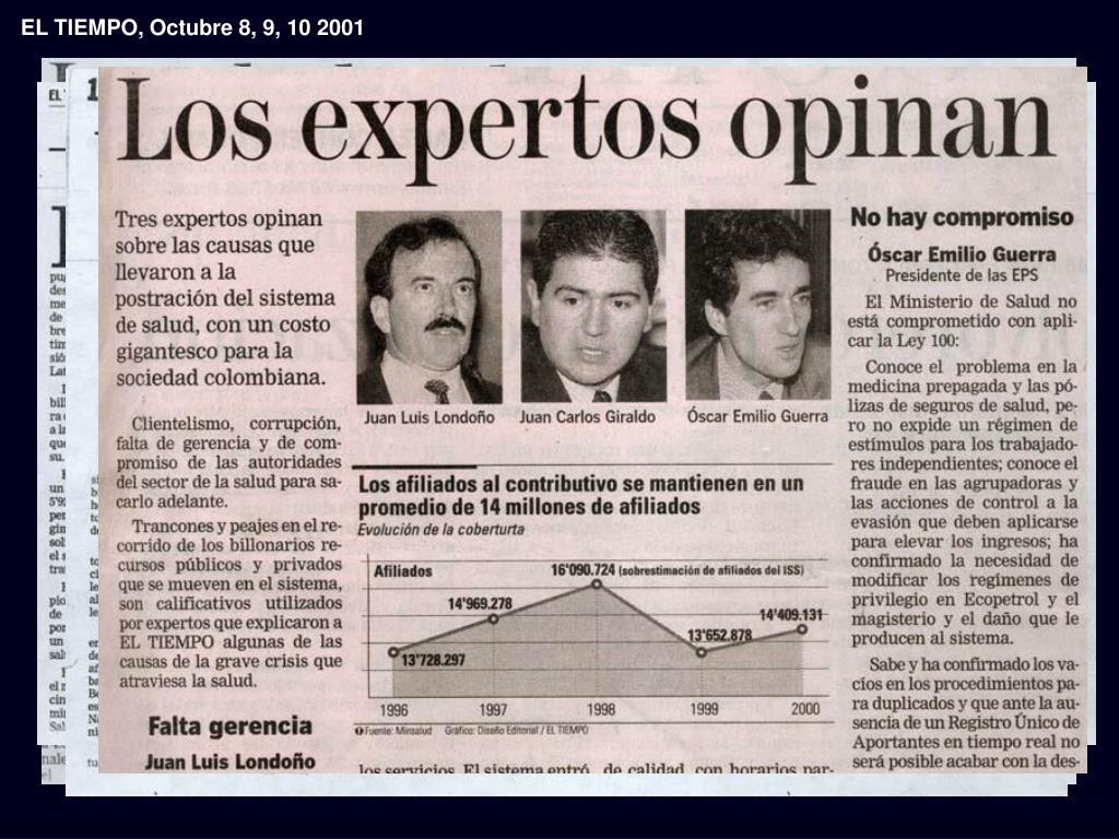 EL TIEMPO, Octubre 8, 9, 10 2001