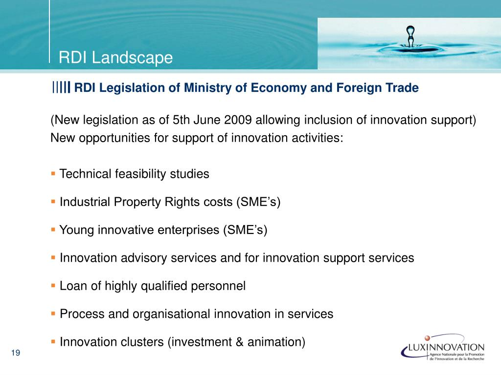 (New legislation as of 5th June 2009 allowing inclusion of innovation support)