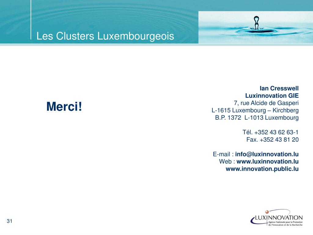 Les Clusters Luxembourgeois