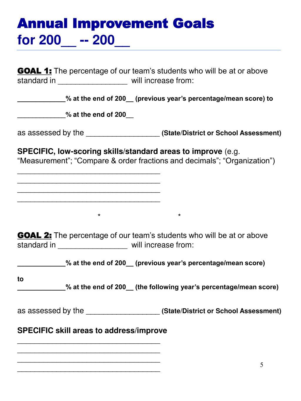 Annual Improvement Goals