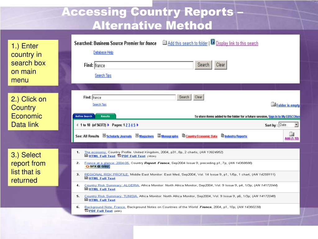 Accessing Country Reports –