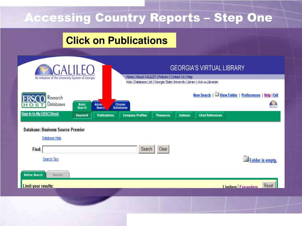 Accessing Country Reports – Step One