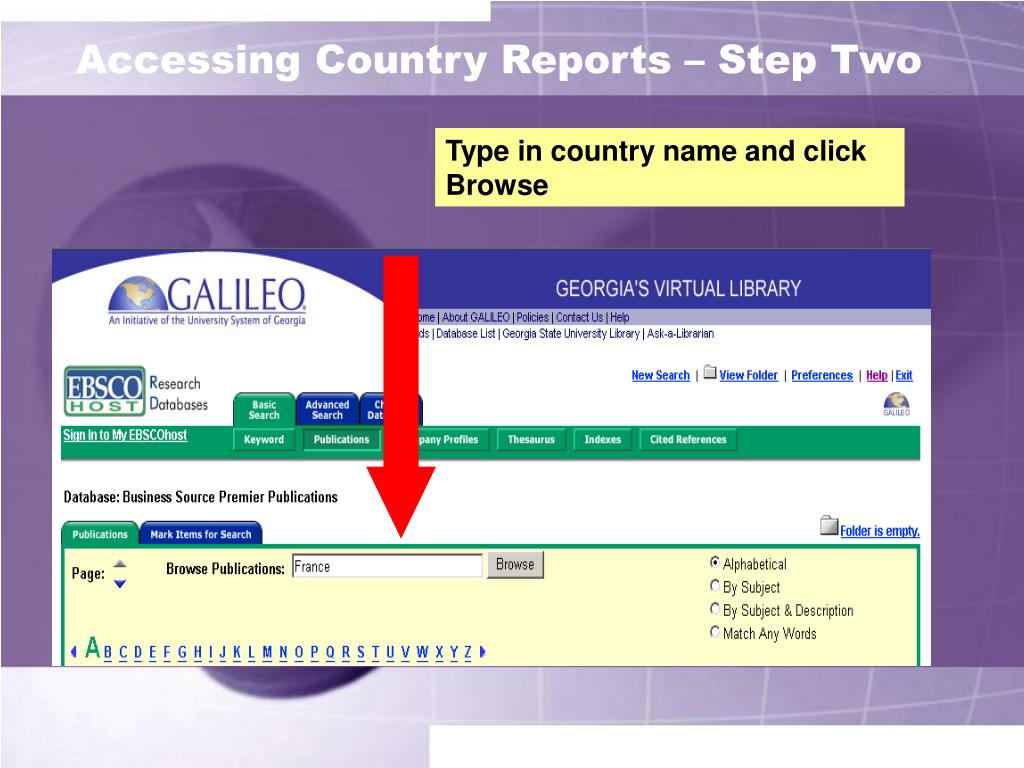 Accessing Country Reports – Step Two